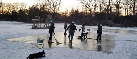 Frozen lake broom ball hockey