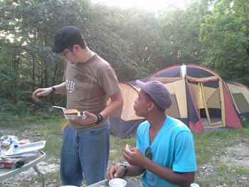 dad camping with teenage boy | coyotehill.org