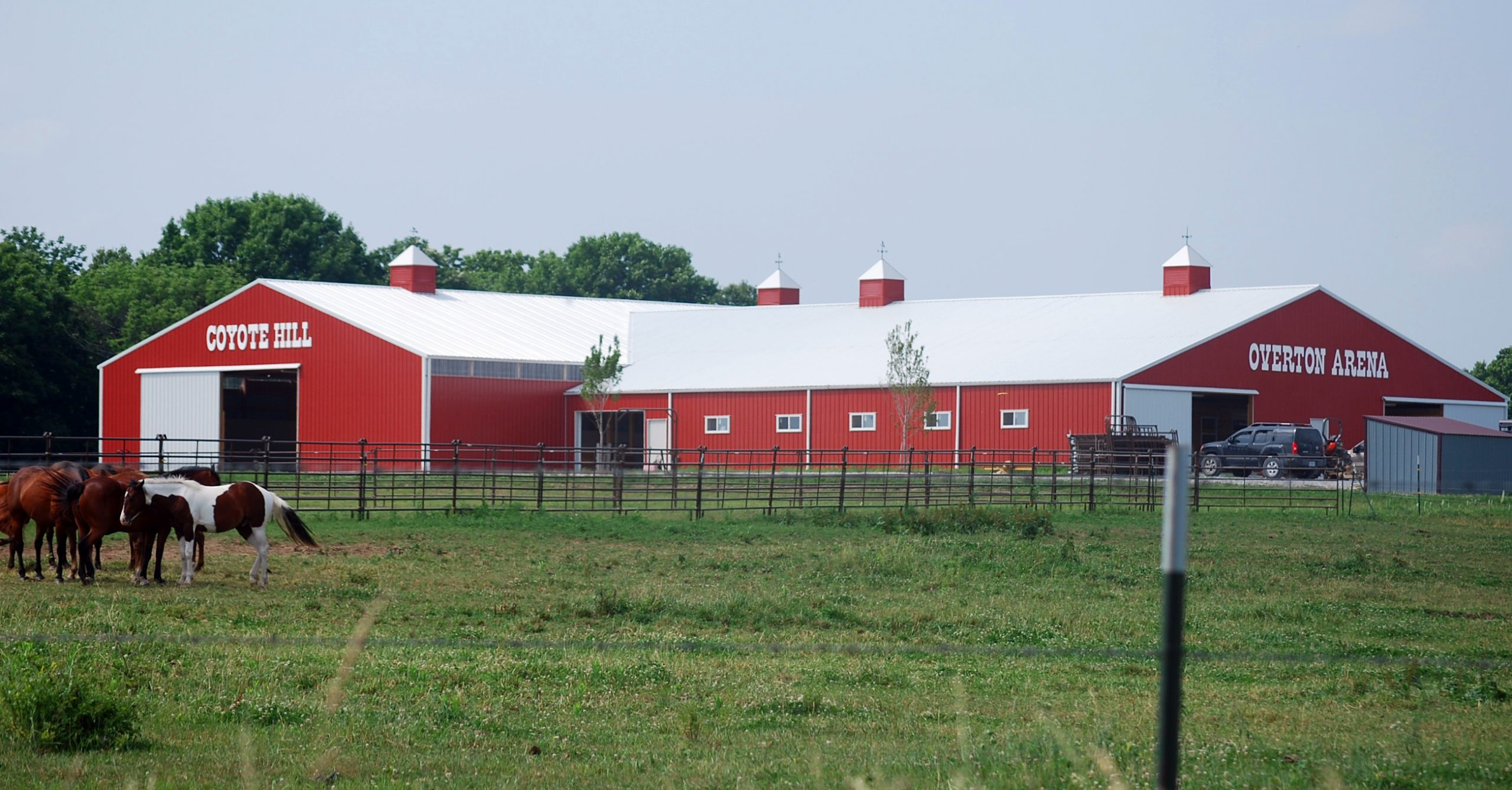 Overton Arena is completed, with 14 stalls and an indoor riding arena.